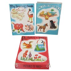 Vintage 1930's children's tracing books, The Saalfield Publishing co Tracing papers and Books