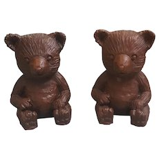 Vintage Red Mill Manufacturing bears, ground pecan shells and resin figurines