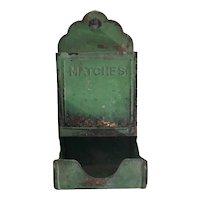 Rustic Primitive matches tin, hanging match holder tin