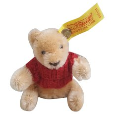 "Steiff Miniature 3"" Mohair Teddy Bear 0201/11 Button and Tag with red sweater"