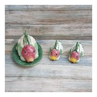 Vietri Italian Ceramic Botanical collection Rabbit butter dish with salt and pepper shakers