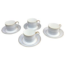 Daniel Hechter set of four Lateral Stripes Blue cups and saucers A3127