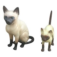 Pair of Siamese Cat figurines Lefton and made in Korea small cat figures