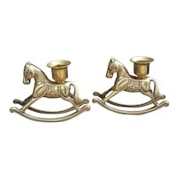 Beautiful pair of Brass Rocking Horse candle holders