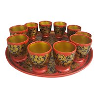 Stunning Soviet Union Russian Lacquered wood tray and cups, red black and gold tray and cups