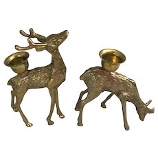 Brass pair of deer candle holders