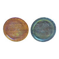 Pair of Indiana Carnival Glass iridescent blue and gold American Bicentennial plates, Spirit of 76 plates