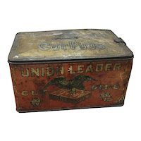 Old rusty Union Leader Cut Plug tin, Union Leader tobacco tin