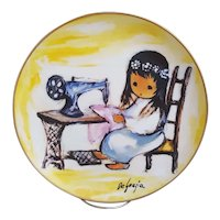 De Grazia Girl With Sewing Machine collectors plate