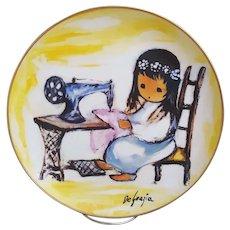 De Grazia Girl With Sewing Machine collectors plate