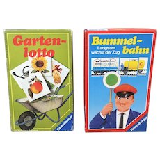 Two German Ravensburger games Bummelbahn and Gartenlotto