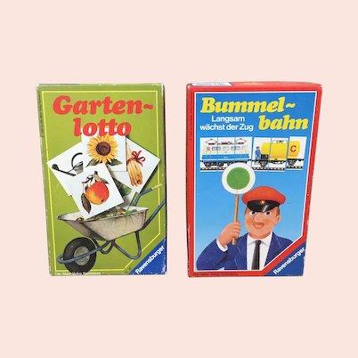 Two German Ravensburger games Bummelbahn and Gartenlotto