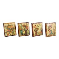 Vintage Hummel like decoupage wall plaques set of four