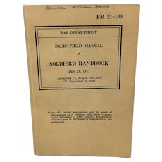 1941 Soldier's Handbook War Department Basic Field Manual