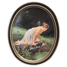 Beautiful White Rock Fairy Lady semi nude tin serving tray