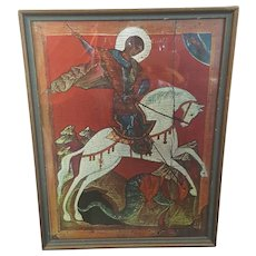 Saint George and the Dragon Russian version framed print