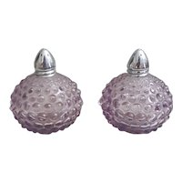 Mid Century I W Rice purple glass hobnail salt and pepper shakers