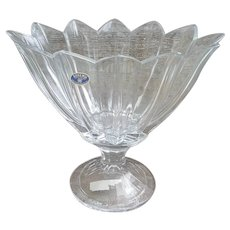 Bohemia Czech Republic lead crystal pedestal vase toothed edge