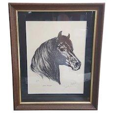 1961 Jeanne Mellin Justin Morgan signed print, vintage Horse decor