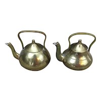 Pair of miniature brass tea pots