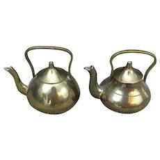 Pair of miniature brass tea pots