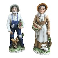 Homco 1409 Porcelain Bisque Farm couple figurines