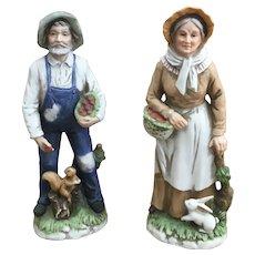 Homco 1409 Porcelain Bisque Farm couple figurines
