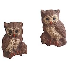 Mid Century molded foam owl wall decor pair