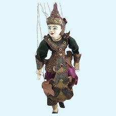 Thai Indonesian Wooden Burmese Doll Hand Made Marionette String Puppet