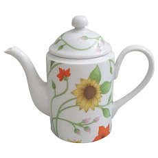 Fitz and Floyd vintage teapot, Spring Floral design 1975 Fitz and Floyd teapot