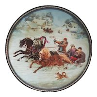 Bradford exchange Village Life of Russia Series A Winter Sleigh Ride Collectors plate