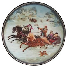 Village Life of Russia Series A Winter Sleigh Ride Collectors plate, Bradford Exchange Russian Plate