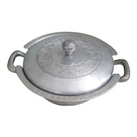 Hand Forged Everlast hammered aluminum double handled casserole server with lid