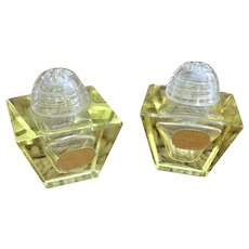 Stunning Bohemia Glass salt and pepper shakers Yellow tinted made in Czechoslovakia