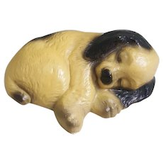 Ceramic Puppy curled up sleeping figurine