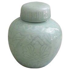 Putmans Celadon ginger jar Lotus flower designed