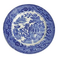 Warranted Staffordshire Blue Willow H A & Co (Henry Alcock) salad plate