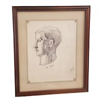 1940's Original pencil sketch of a mans head