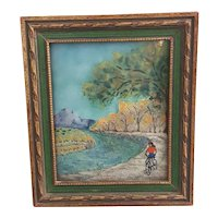 Beautiful painted con-vexed metal/tile wall art