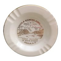 The Sabina Line 22 K rim, Hecla South Dakota ashtray Hecla Diamond Jubilee memorabilia