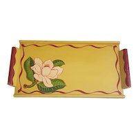 Painted wooden tray Marigold Los Angeles California floral tray