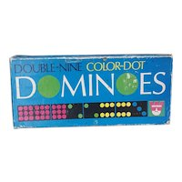 Vintage Whitman Double Nine Colored Dominoes complete set