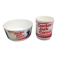 Vintage Cracker Jacks Cereal cup and bowl