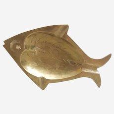 Etched Brass fish shaped ashtray, vintage brass ashtray