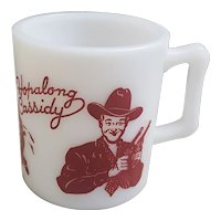 Hopalong Cassidy milk glass mug, Hop A Long Cassidy  cup