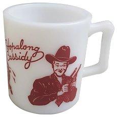Hopalong Cassidy milk glass mug, Hop A Long Cassidy  cup