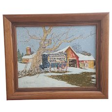 H Hargrove Hay Wagon and Barn Serigraph