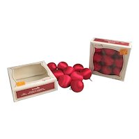 Vintage Red Pyramid Satin Sheen ornaments two boxes of nine