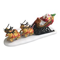 1990's Lemax Porcelain Santa Claus and sleigh with Reindeer