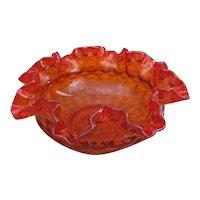 Fenton Amberina orange thumbprint bowl
